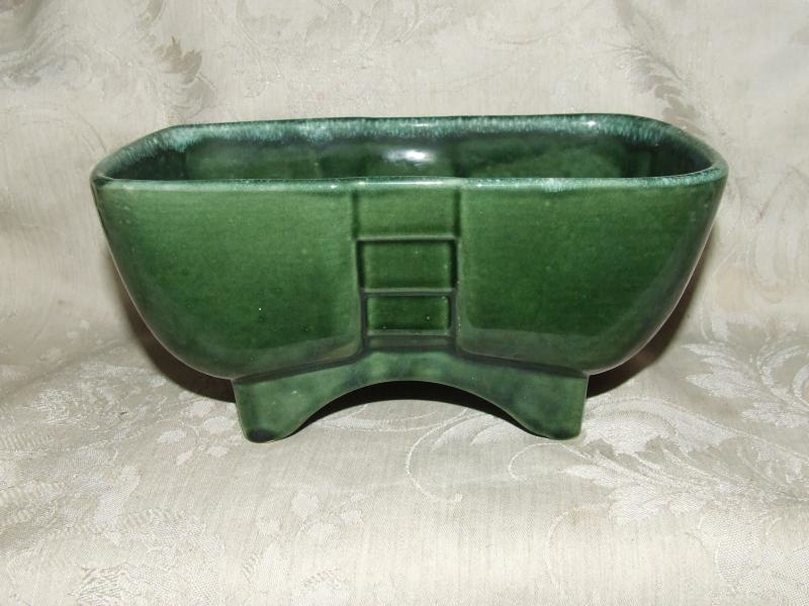 Primary image for Vintage 1950s California Pottery #778 USA Green Drip Planter Oriental Pagoda