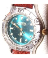 REGENT Quartz Ladies Wrist Watch Teal Green Face Singapore Movement Leat... - $55.00