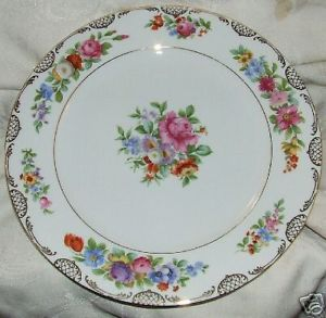 "Primary image for Lovely CROWN BAVARIA Floral 11"" Plate 1931 MINT 8 Available"