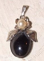 Vintage Hemetite Silvertone Pendant with Faux Pearl Leaf Top - $20.00