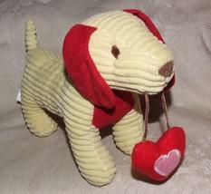 2012 ANIMAL ADVENTURE Yellow & Red Corduroy Stuffed Dachshund Dog with Heart - $15.00