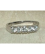 1969 Silvertone Wedding Band 5 Faux Diamond Prong Set Rhinestones Sparkley - $30.00