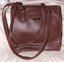 LIZ CLAIBORNE mid 1980s Dark Brown Leather Shoulder Bag Plaid Acetate Li... - $65.00