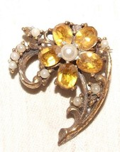Flashy 1940s Faux Citrine Pearl Flower Brooch Pin BIG BAND SINGER Jewelry - $8.00