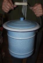 Antique Light Powder Blue French Fine Spatter GRANITEWARE Slop Bucket Pail - $262.35