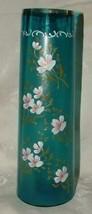 """ANTIQUE 12"""" Tall Blue Satin SANDWICH GLASS Floral Enamel Cylinder Vase - $425.00"""
