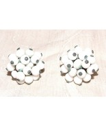 1930s White Ball Copper Wired Porcupine Cluster Earrings Screwbacks - $8.00
