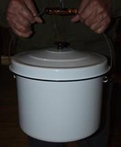 Antique White with Black Trim Huge GRANITEWARE Slop Bucket Pail Wood Bai... - $143.55