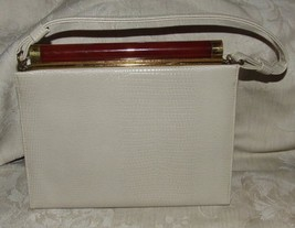 VINTAGE 1960s AFTER FIVE 5 Made in USA Cream Leather Handbag Purse Dress... - $185.00