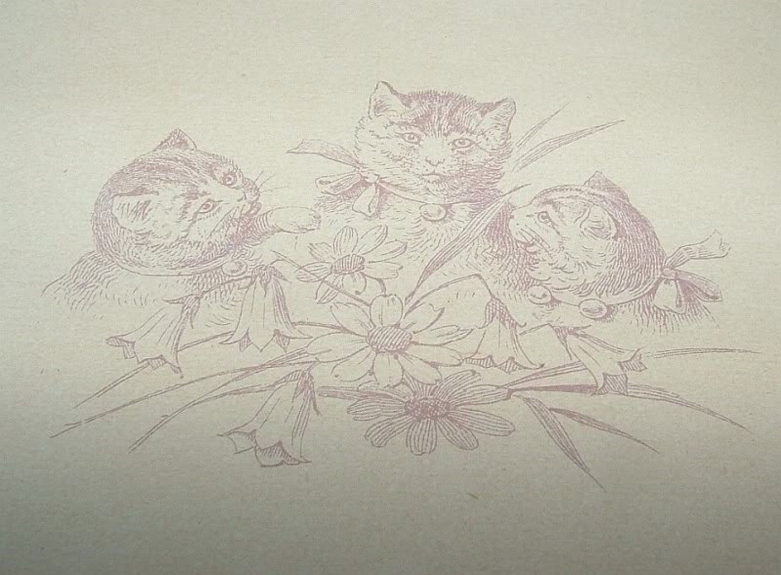 Primary image for VINTAGE 1890s Pierced Border VALENTINE CATS Booklet Embossed Rose Tassel Cord