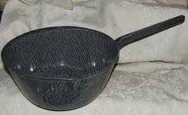 FINE Vintage Graniteware Enamelware Large Grey Gray Mottled Handled Larg... - $125.00
