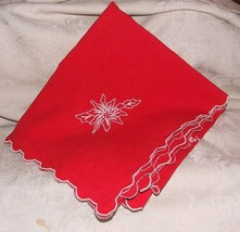 "1950s Red 40"" Square Xmas CHRISTMAS TABLECLOTH ... - $45.00"