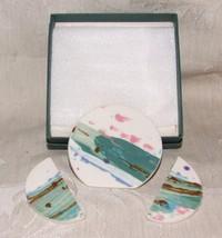 Vintage 1960s Bold MODERN Porcelain China PIN & EARRING Set Artisan Hand... - $35.00