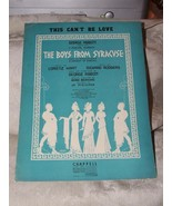 1938 Sheet Music This Can't Be Love from The Boys from Syracuse Rodgers ... - $10.00