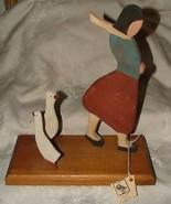 WOOD FOLK ART Goose Girl N.E. Broadcaster Beatles Interviewer Don Sylvia... - $75.00