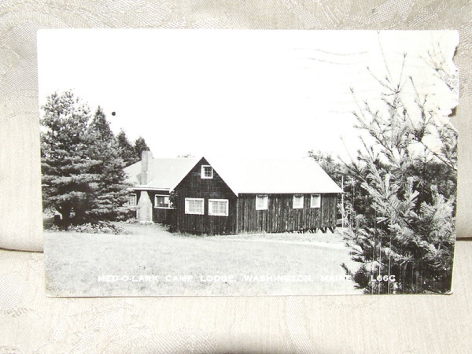 Primary image for 1962 Real Photo Postcard MED-O-LARK CAMP LODGE Washington Maine ME Eastern Illus