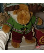 "CUTE Dan Dee Vintage Stuffed 12"" MOOSE in Hoodie Toggles Fur Trim Cordur... - $30.00"