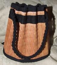 Vintage 1960s Unbranded STRAW Bag Drawstring Closure - $35.00