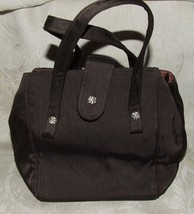 Vintage 1960s MISS LEWIS Brown Satin Pouch Purse Evening Bag Handbag - $45.00