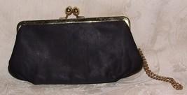 1950s Black Clutch Bag Purse Goldtone Faux Pearls Clasp Wrist Chain - $25.00