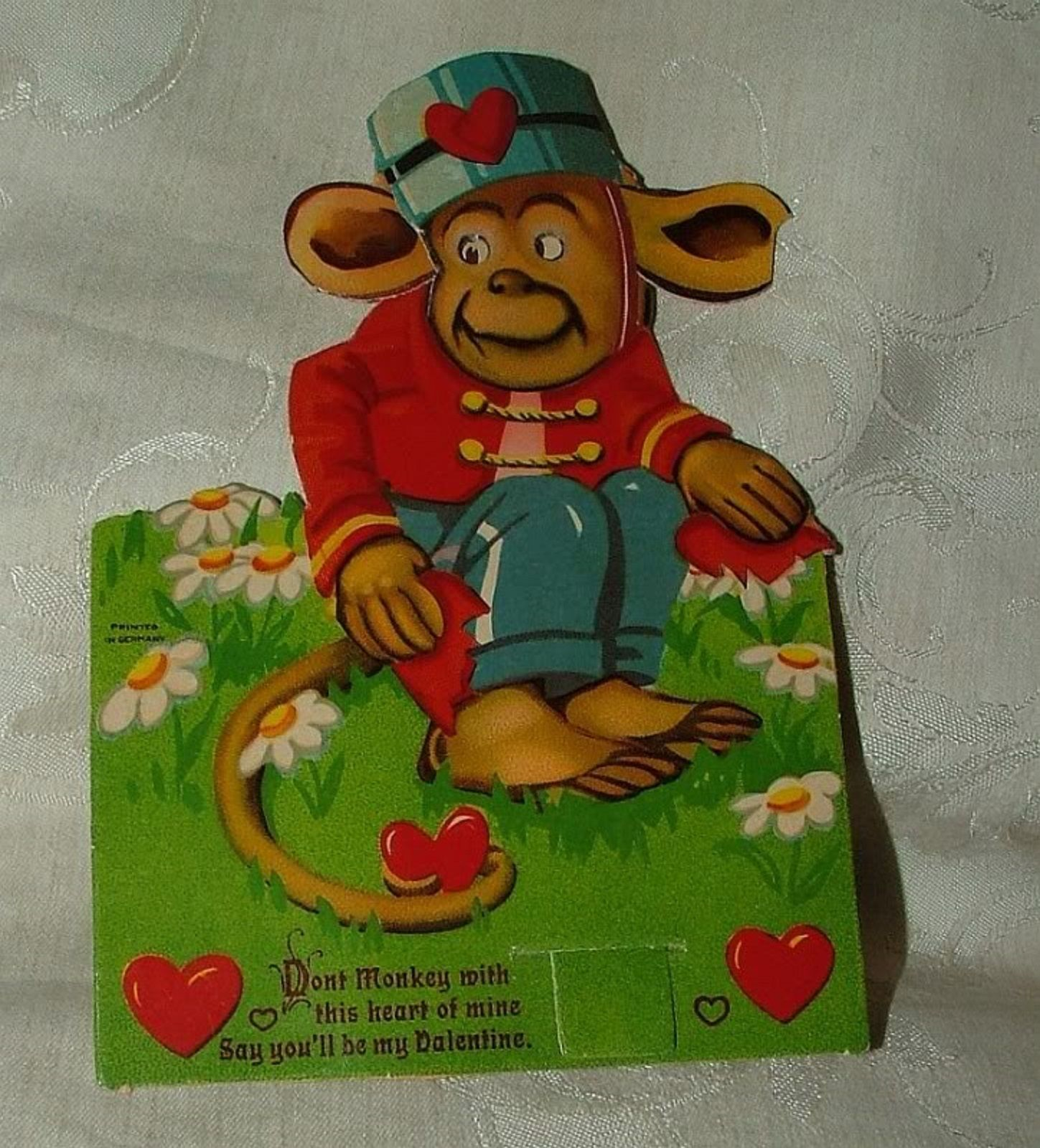 Primary image for Valentine Germany 1920s Don't MONKEY with this Heart of Mine Stand Up Moveable
