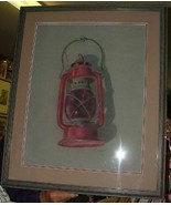 c1970 Raymond Finelli Warwick RI Red RR Lantern PASTEL - $346.50