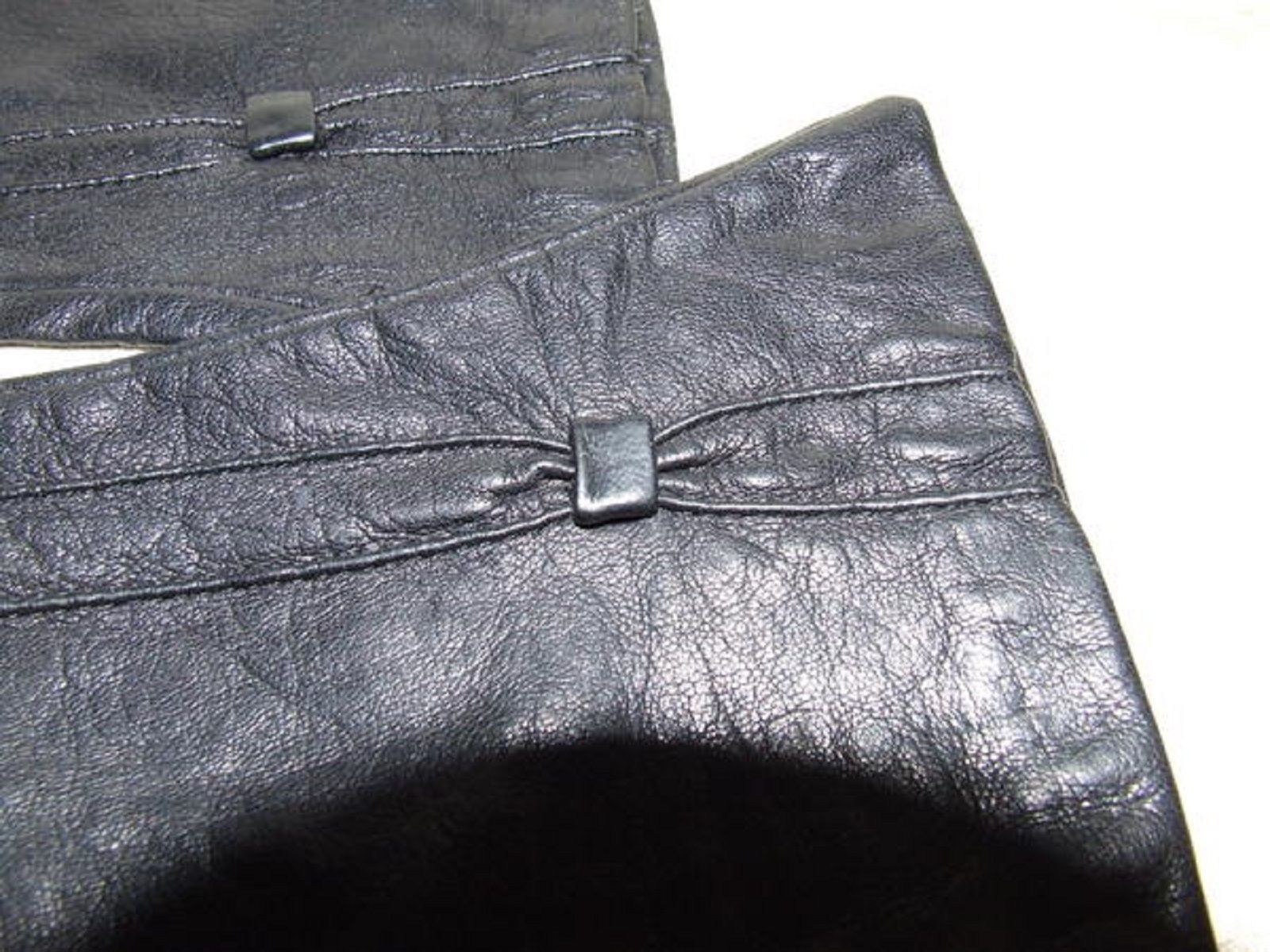 "Primary image for Pair 1950s Size 6 Black Pinched Kid Leather Gloves 9 1/4"" long Grey Silk Lining"