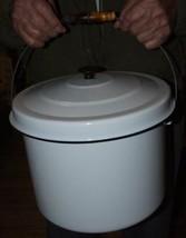 Antique White with Black Trim Huge GRANITEWARE Slop Bucket Pail Wood Bail Handle image 2
