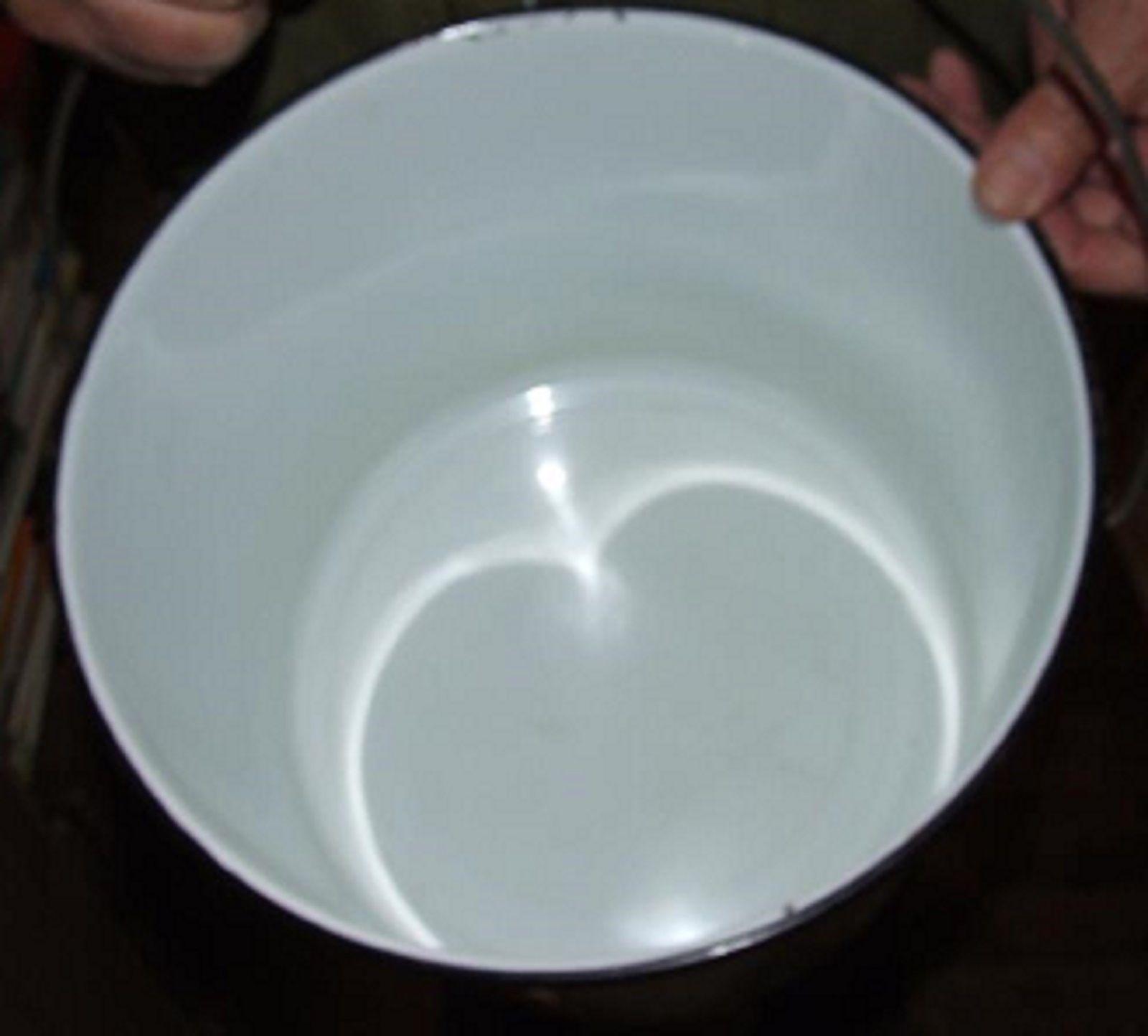 Antique White with Black Trim Huge GRANITEWARE Slop Bucket Pail Wood Bail Handle image 3
