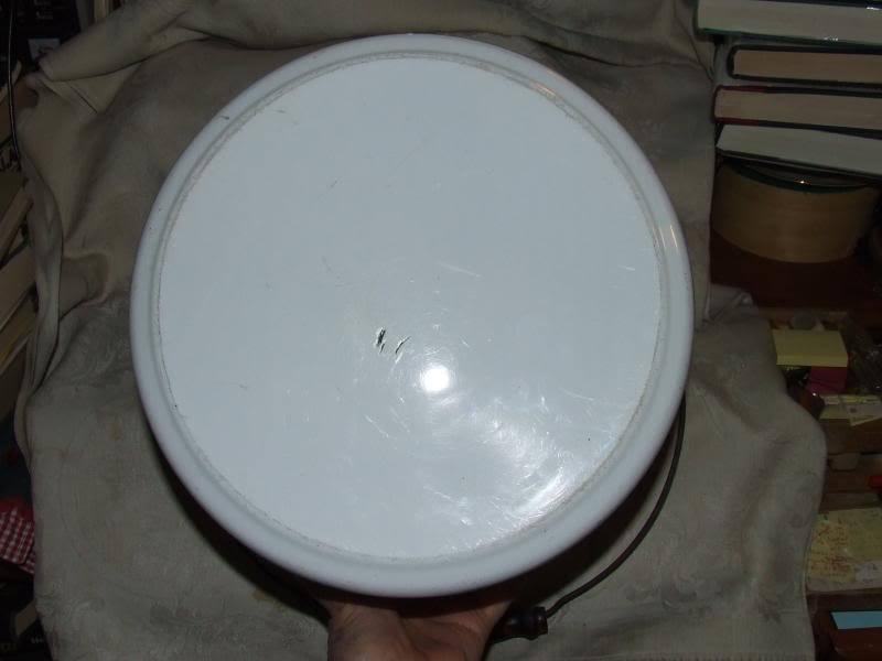 Antique White with Black Trim Huge GRANITEWARE Slop Bucket Pail Wood Bail Handle image 4