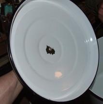 Antique White with Black Trim Huge GRANITEWARE Slop Bucket Pail Wood Bail Handle image 5