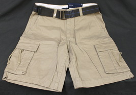 New Mens Faded Glory Brown Cargo Shorts With Belt Size 30 - $14.95