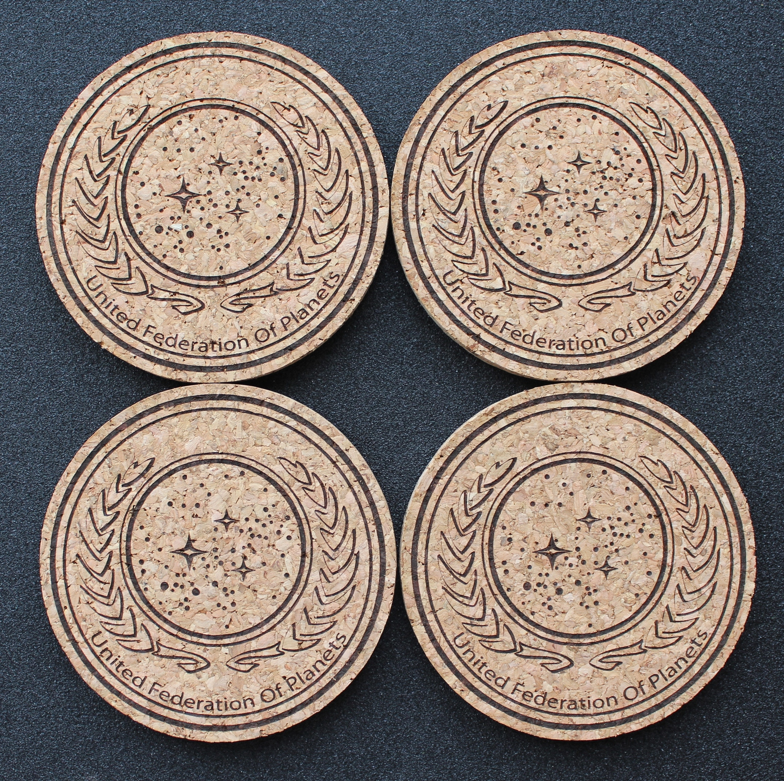 Primary image for United Federation of Planets - laser engraved cork coasters - set of 4