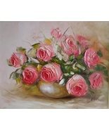 S-IMPASTO Pink ROSES Impression Original Oil Painting Europe Artist Bouquet V - $269.00