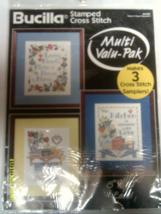 "Bucilla Stamped Cross Stitch Home & Heart Samplers #64183 3 8""x 10"" Samplers - $22.00"