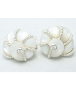 White Mother of Pearl Shell and  Diamonique Sterling Earrings Judith Ripka - $89.00