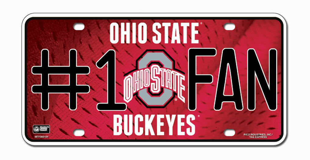 OHIO STATE BUCKEYES #1 FAN CAR / AUTO METAL LICENSE PLATE TAG