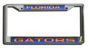FLORIDA GATORS CAR AUTO LASER MIRROR CHROME LICENSE PLATE TAG FRAME