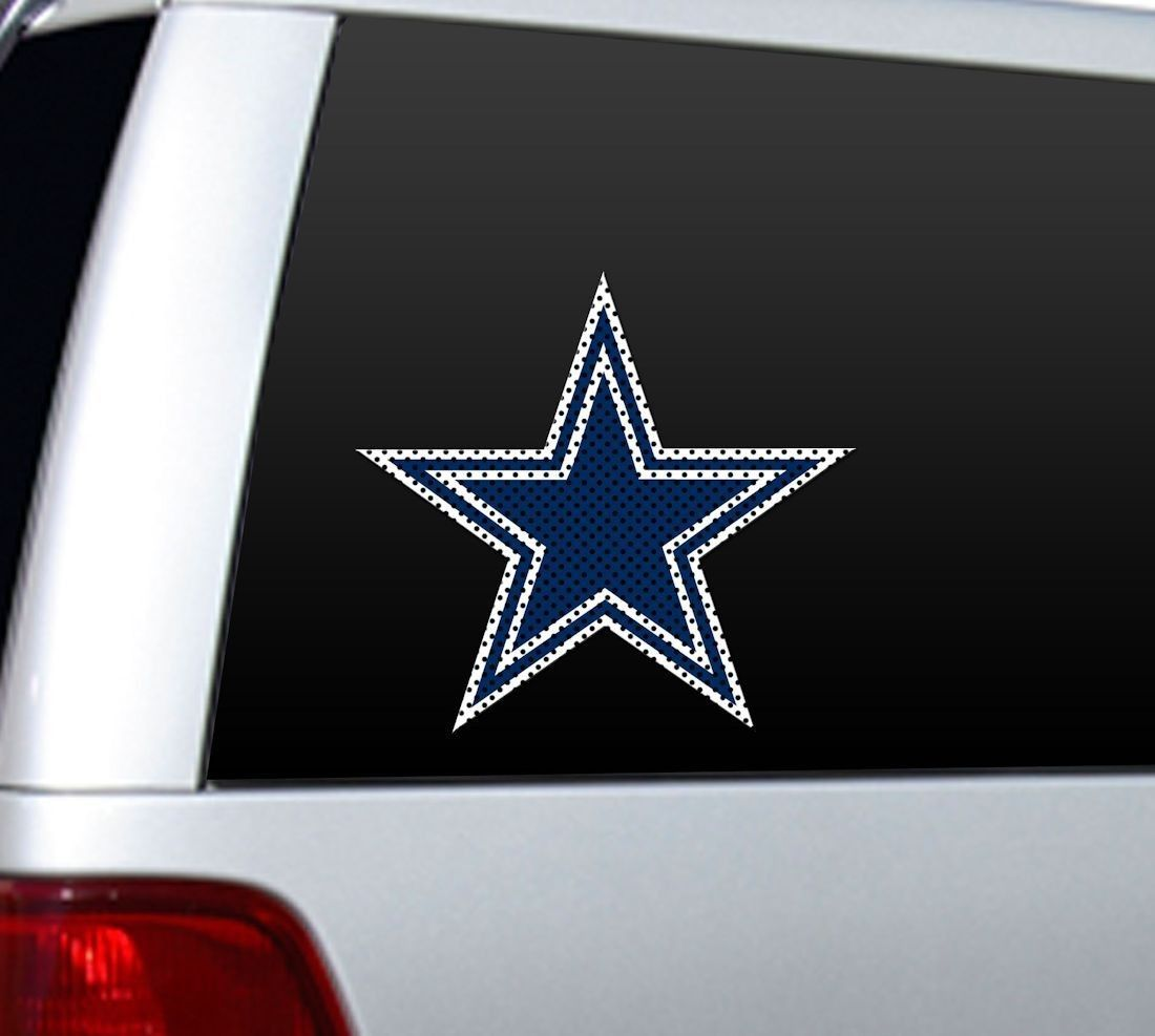 "BIG 12"" DALLAS COWBOYS CAR HOME PERFORATED WINDOW FILM DECAL NFL FOOTBALL"