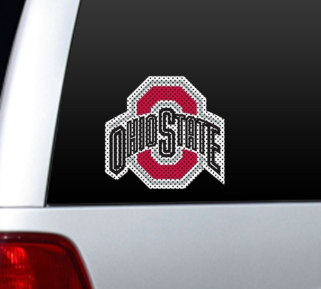"*BIG* 12"" OHIO STATE BUCKEYES CAR HOME PERFORATED WINDOW FILM DECAL"