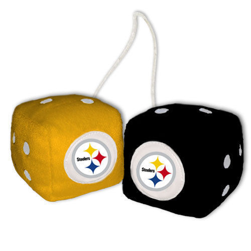 PITTSBURGH STEELERS PLUSH FUZZY DICE CAR AUTO MIRROR NFL FOOTBALL