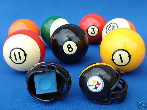 2 PITTSBURGH STEELERS POOL BILLIARD CUE with MASTER CHALK NFL FOOTBALL HELMETS