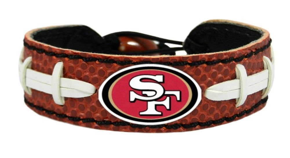 SAN FRANCISCO 49ERS CLASSIC NFL FOOTBALL LEATHER LACES BRACELET NFL FOOTBALL