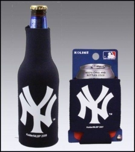 NEW YORK YANKEES BEER SODA  WATER BOTTLE & CAN KOOZIE HOLDER MLB BASEBALL