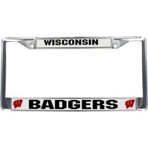 CAR AUTO CHROME METAL LICENSE FRAME WISCONSIN BADGERS