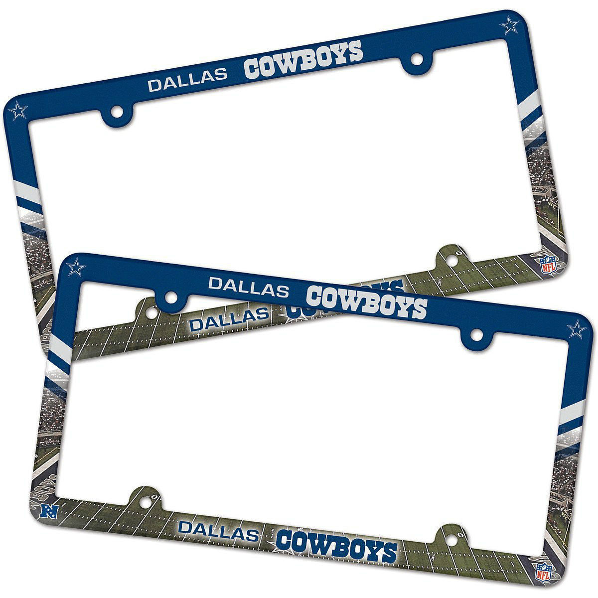 2 DALLAS COWBOYS COLOR CAR AUTO PLASTIC LICENSE PLATE TAG FRAME NFL FOOTBALL