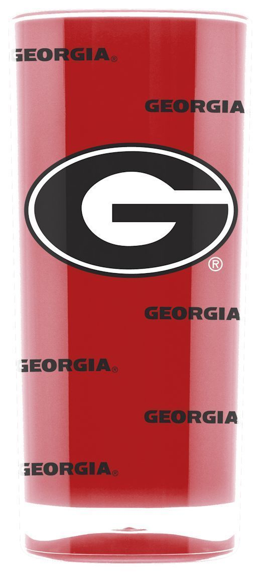 GEORGIA BULLDOGS CRYSTAL CLEAR SQUARE INSULATED TUMBLER 16 OZ.  NCAA