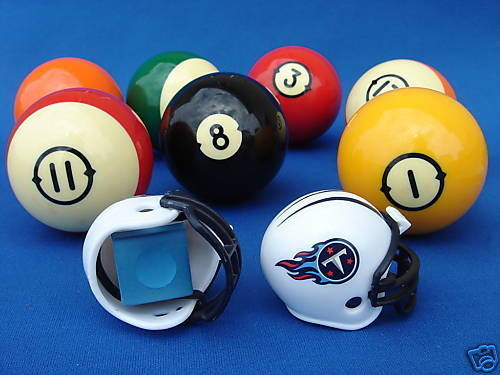 2 TENNESSEE TITANS POOL BILLIARD CUE with MASTER CHALK NFL FOOTBALL HELMETS