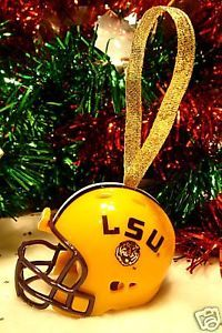 LSU TIGERS CHRISTMAS BELL FOOTBALL HELMET ORNAMENT