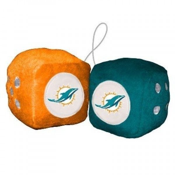 MIAMI DOLPHINS PLUSH FUZZY DICE CAR MIRROR DANGLER NFL FOOTBALL